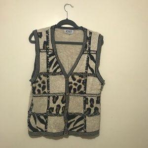 5/$30 VINTAGE Koret Animal Print Vest - Size Large